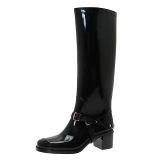 Jimmy Choo Chester black rubber Wellington rain boots