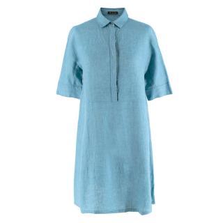 Loro Piana Flax Blue Button-Down Shirt Dress