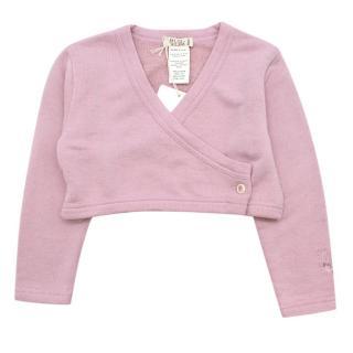 MiMu Lilac Rose Cropped Buttoned Cardigan
