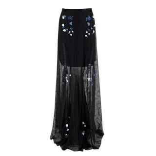 Marios Schwab Black Embellished Lace Sheer Maxi Skirt