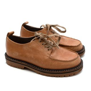 Bonpoint Tan Leather Lace-Up Shoes