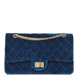 Chanel Reissue 2.55 blue velvet medium shoulder bag