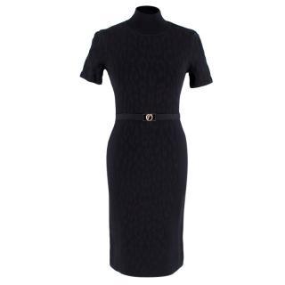 Versace Black Leopard Print Jacquard High Neck Dress