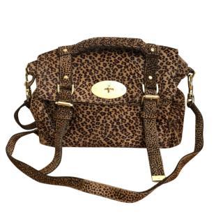 Mulberry Alexa leopard print calf hair shoulder bag