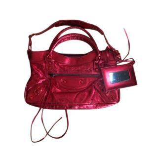 Balenciaga City small red metallic leather shoulder bag