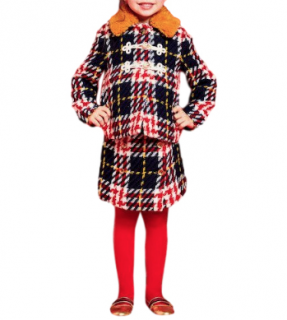 Gucci Girl's Checked Wool Jacket & Skirt