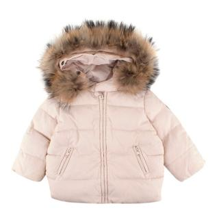 Bonpoint Baby Pink Fur-Hooded Puffer Coat