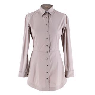 Alaia Taupe Stretch Waist Longline Shirt