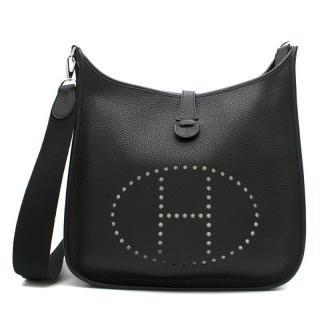 Hermes Black Togo Leather Evelyne III PM Bag PHW