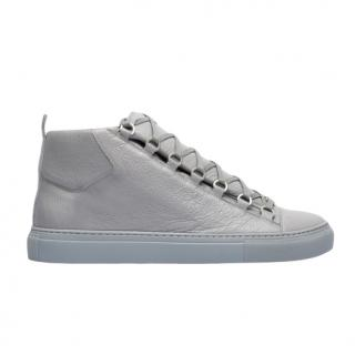 Balenciaga Arena grey creased leather trainers