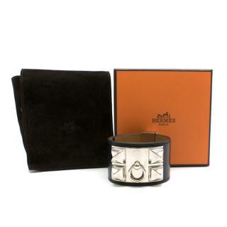 Hermes Collier De Chien Cuff in Black Swift Leather PHW