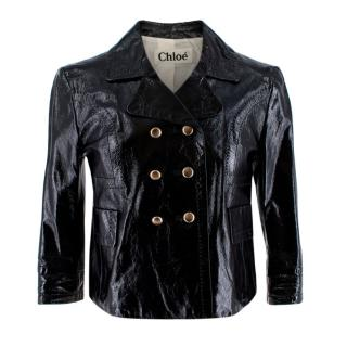 Chloe Black Glossy Goatskin Double Breasted Cropped Jacket