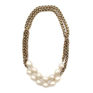 Chanel Vintage Faux Pearl Rope Chain Necklace