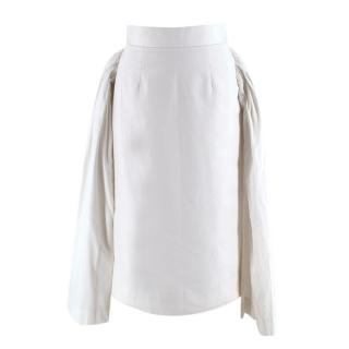 Comme des Garcons White Cotton Pleated Bustle Detail Skirt