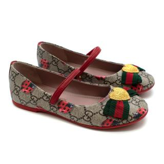 Gucci Girl's Monogram Web Bow Ballet Flats
