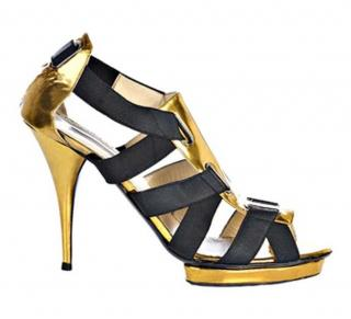Oscar de la Renta bandage black & gold leather heeled sandals