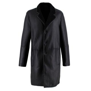 Joseph Black Lambskin Shearling Longline Coat