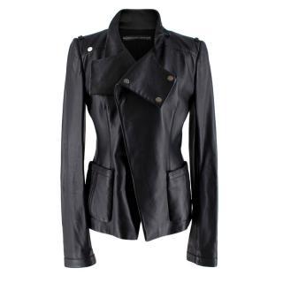 Balenciaga Black Leather Asymmetric Jacket