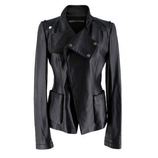 Balenciaga Black Leather Asymmetric Jacket