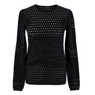 Tom Ford Black Stretch Knit Fishnet Jumper