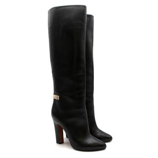 Givenchy Black Smooth Leather Knee High Boots