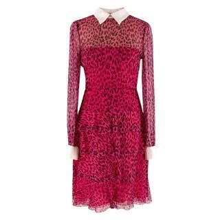 Valentino Pink Silk Chiffon Leopard Print Dress
