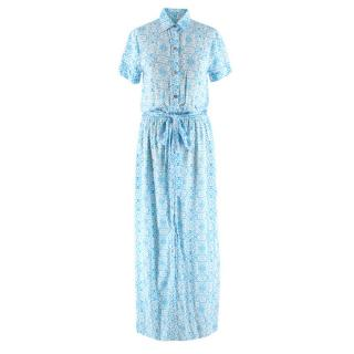 Melissa Odabash Blue Damask Print Shirt Dress