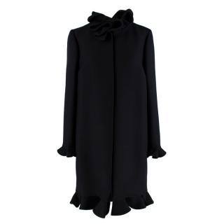 Valentino Black Wool & Silk Ruffled High Neck Coat