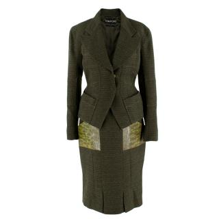 Tom Ford Green Tweed Skirt Suit with Snake Embossed Pockets