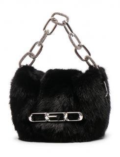 Alexander Wang black mink fur shoulder bag