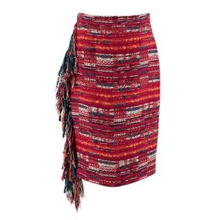 Chanel Red Woven Tweed Fringed Skirt