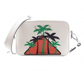 Prada palm tree print white leather crossbody bag