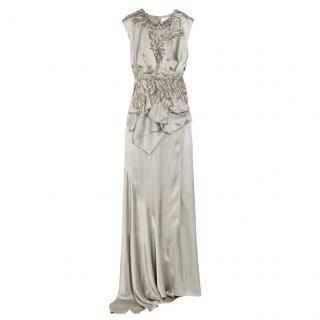 Julien Macdonald Silk Silver Feather Applique Gown