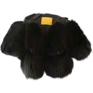 Lanvin black fox fur bolero jacket