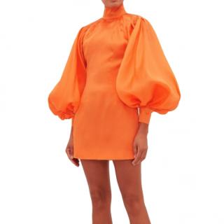 Elzinga Tangerine Balloon-sleeve silk-organza mini dress