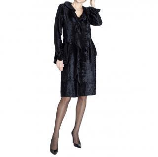 Valentino Black Astrakhan Ruffled Silk Lined Coat