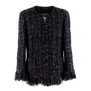 Chanel Boucle Tweed Alpaca & Wool Blend Frayed Jacket