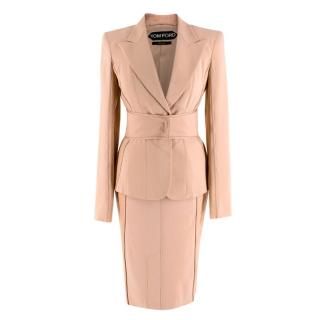 Tom Ford Peach Bodice Belted Skirt Suit