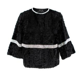 Dolce & Gabbana Black Astrakhan Crystal Trim Short Jacket