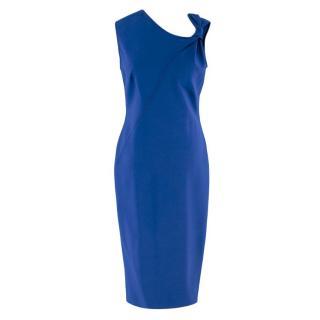 Victoria Beckham Blue Bow Detail Midi Dress