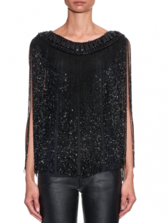 Balmain Black Embellished Fringed Silk Top