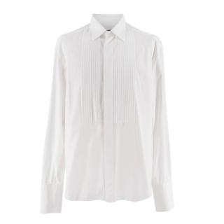 Lanvin Mens White Pleated Tuxedo Shirt