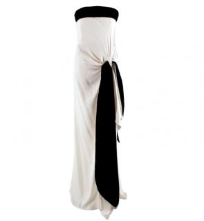 Yves Saint Laurent Ivory & Black Velvet Trimmed Strapless Gown