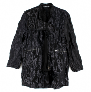 Tom Ford Black Metallic Crinkled Silk Oversize Jacket