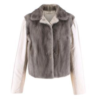 Prada Satin & Mink Fur Paneled Jacket