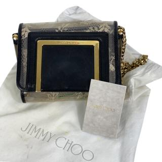 Jimmy Choo black leather & floral crossbody bag