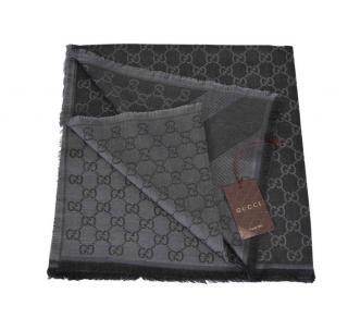 Gucci grey wool & silk blend monogram scarf