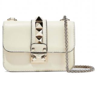 Valentino Garavani Cream Glamlock Shoulder Bag