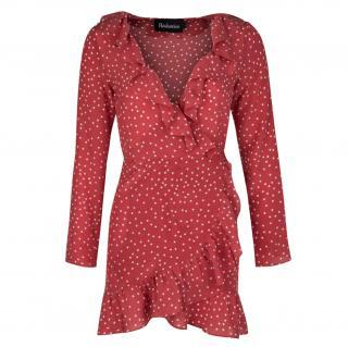 Realisation Par Alexandria red star print ruffle dress