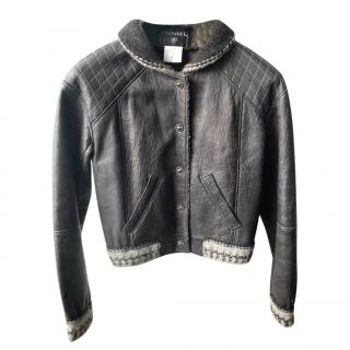 Chanel black leather shearling & tweed bomber jacket